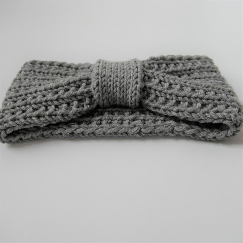 Kleinesbild - Stirnband * RIKKE * grau melange aus Wolle handgestrickt mehrere Farben  von zimtblüte