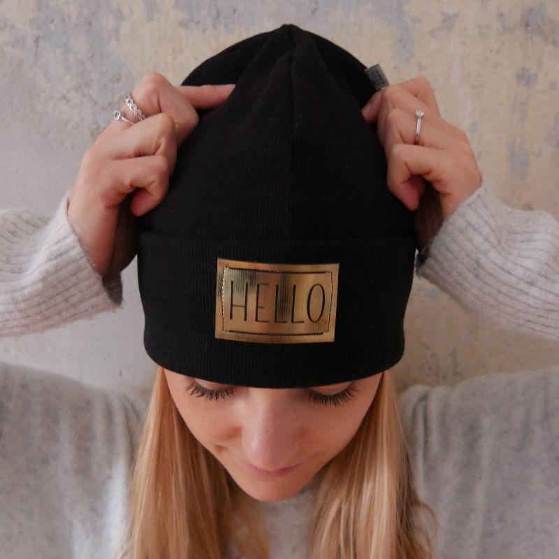 Kleinesbild - Hipster Beanie HELLO mit XL Label Mütze von zimtblüte