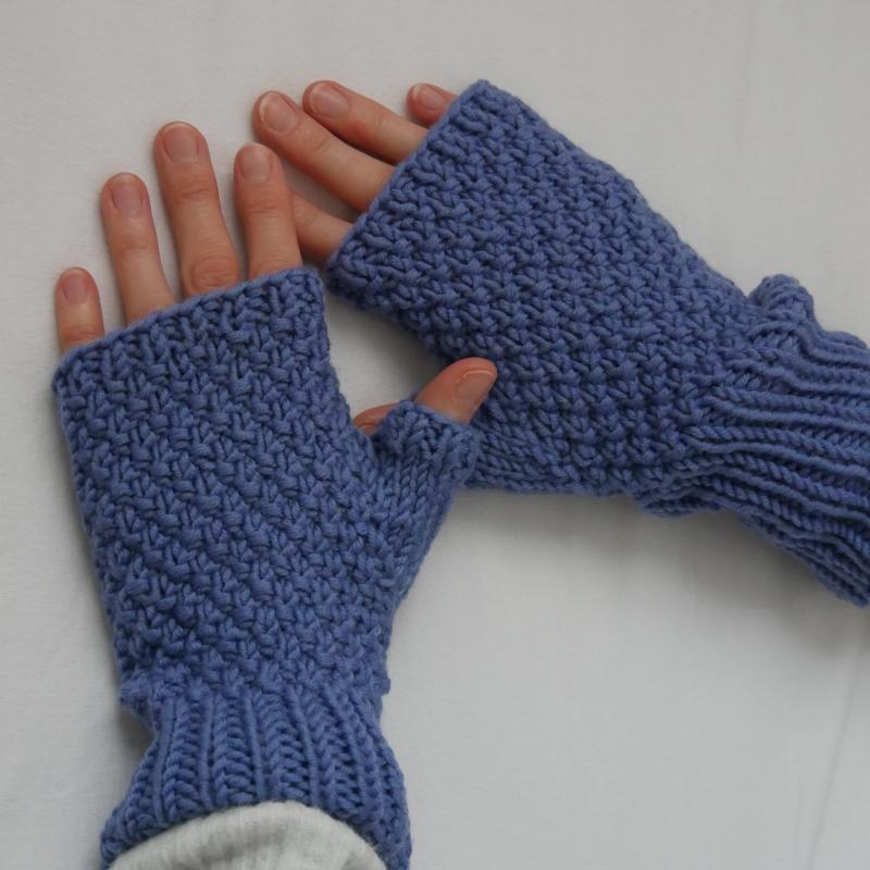 - Fingerlose Handschuhe ELIN Stulpen aus Wolle handgestrickt von zimtblüte  - Fingerlose Handschuhe ELIN Stulpen aus Wolle handgestrickt von zimtblüte