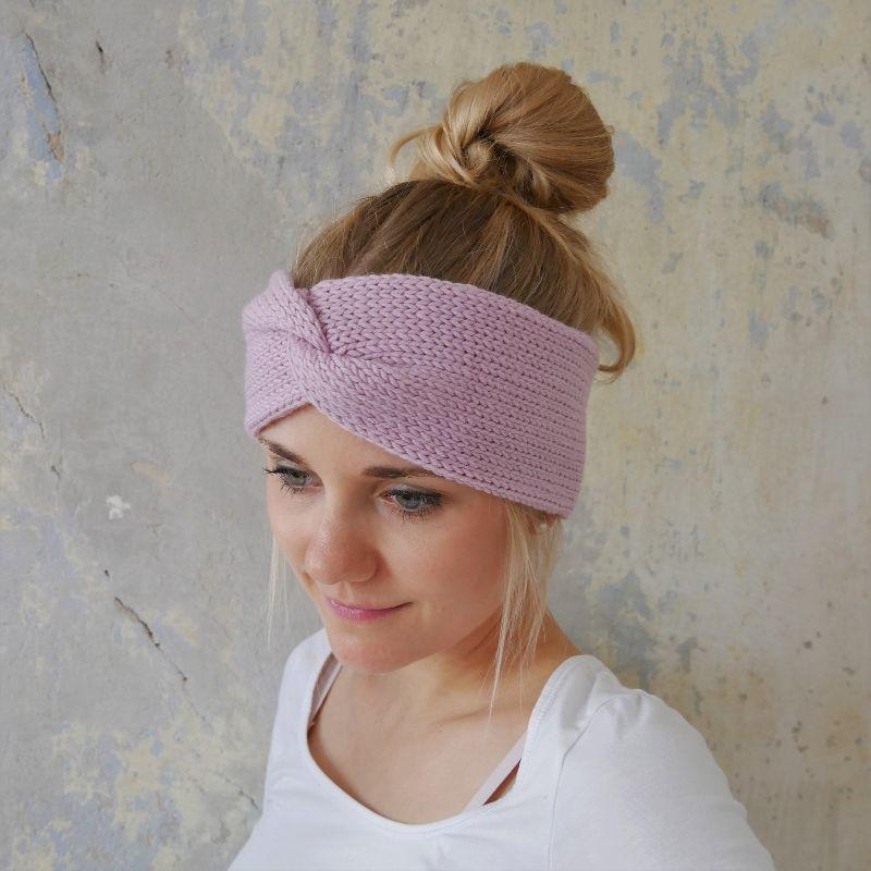 Kleinesbild - Stirnband Modell CARO double Wolle puderrosa von zimtblüte handgestrickt