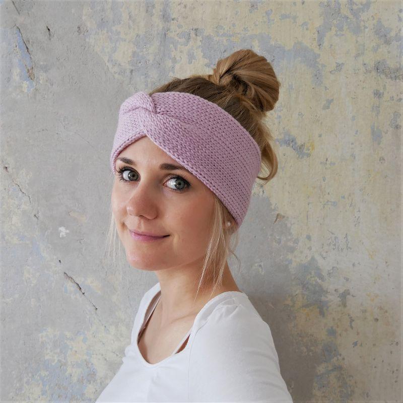 - Stirnband Modell CARO double Wolle puderrosa von zimtblüte handgestrickt   - Stirnband Modell CARO double Wolle puderrosa von zimtblüte handgestrickt