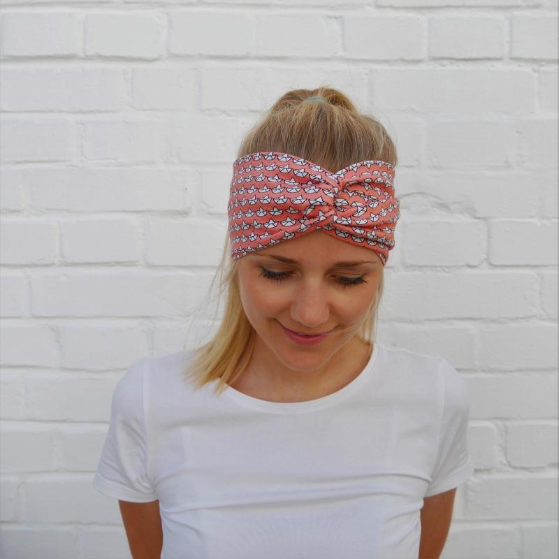 Kleinesbild - ! SALE !Turbanstyle Stirnband SCHIFFCHEN Handarbeit von zimtblüte  Turban Haarband
