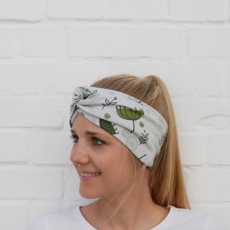 Kleinesbild - TurbanStirnband mit SCHIRMCHEN Handarbeit von zimtblüte  TurbanHaarband   kaufen