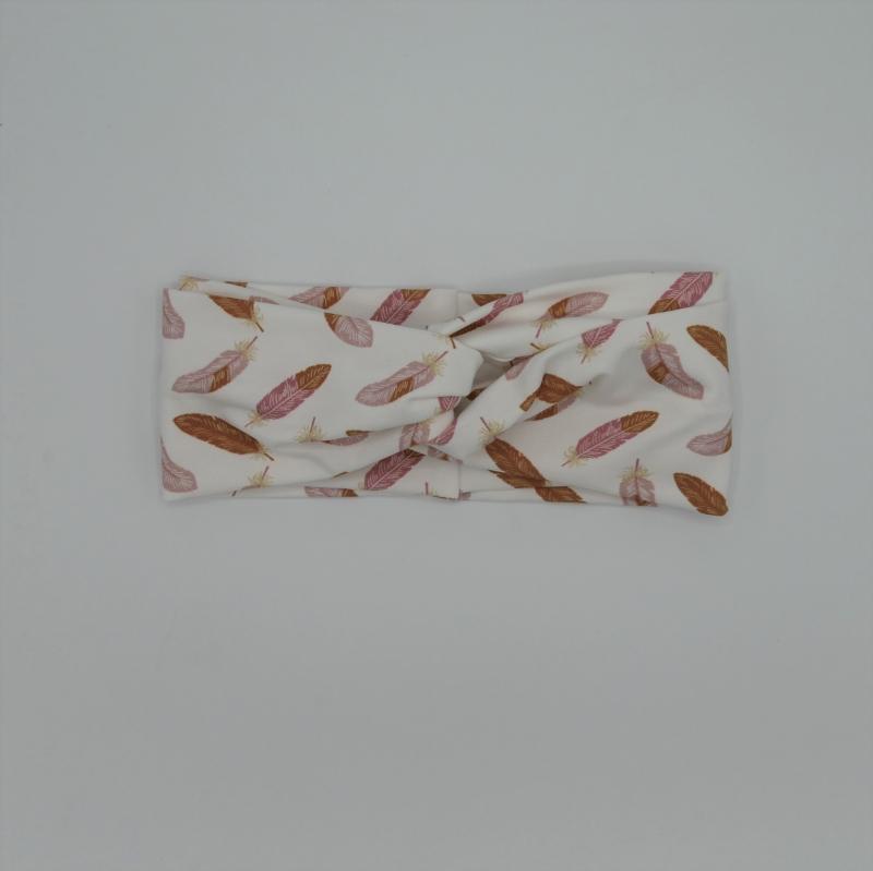 Kleinesbild - TurbanStirnband FEDERN Handarbeit von zimtblüte  TurbanHaarband mit Twist kaufen