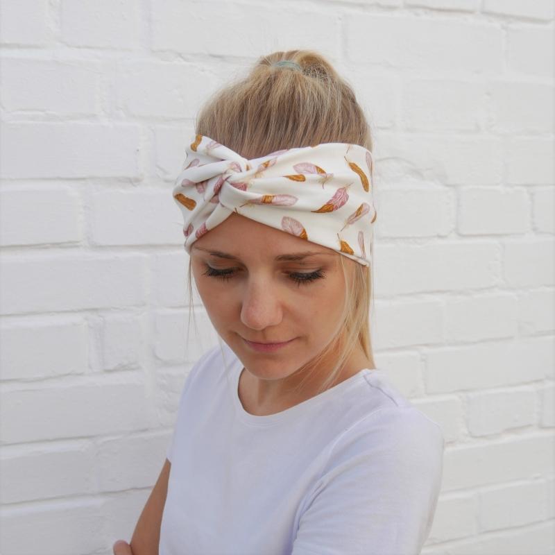 - TurbanStirnband FEDERN Handarbeit von zimtblüte  TurbanHaarband mit Twist kaufen  - TurbanStirnband FEDERN Handarbeit von zimtblüte  TurbanHaarband mit Twist kaufen