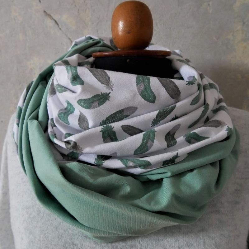 - Schlauchschal mint FEDERN  XL auch Stillschal von zimtblüte   kaufen  - Schlauchschal mint FEDERN  XL auch Stillschal von zimtblüte   kaufen