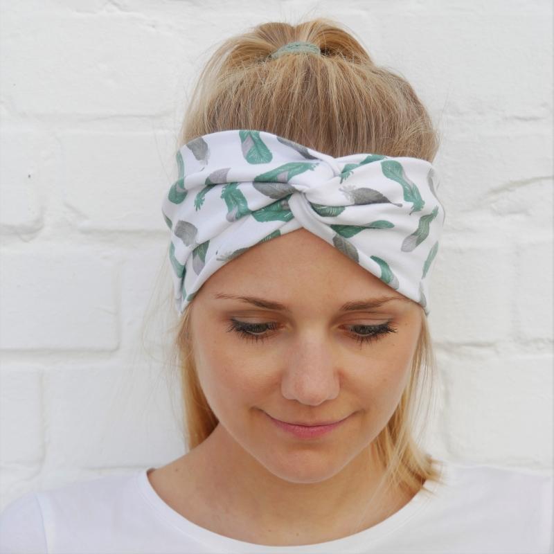 - !SALE! TurbanStirnband mint  FEDERN Handarbeit von zimtblüte  TurbanHaarband mit Twist kaufen  - !SALE! TurbanStirnband mint  FEDERN Handarbeit von zimtblüte  TurbanHaarband mit Twist kaufen