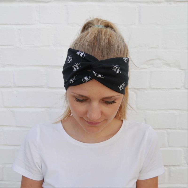 Kleinesbild - TurbanStirnband Modell BIENE Handarbeit von zimtblüte  TurbanHaarband mit Twist kaufen