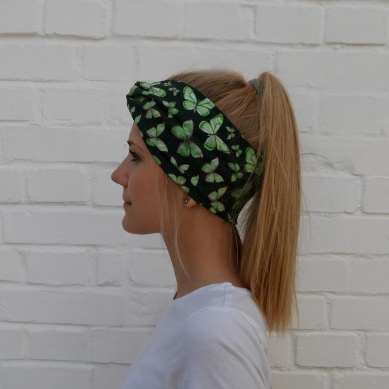 Kleinesbild - TurbanStirnband Modell SCHMETTERLING Handarbeit von zimtblüte  TurbanHaarband mit Twist kaufen