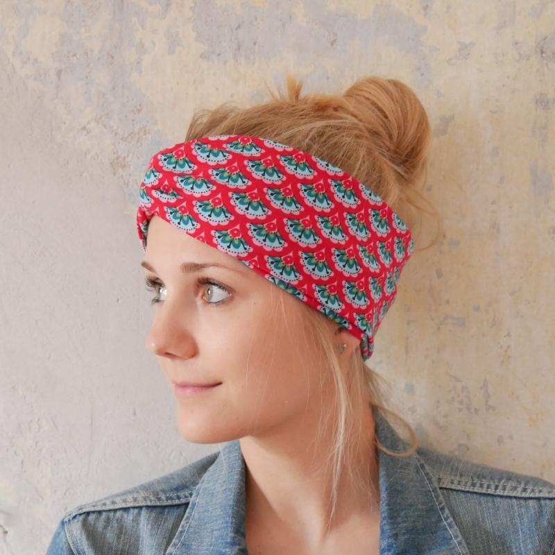 Kleinesbild - Haarband Stirnband  RETRO  handmade Turbanstyle in rot von zimtbluete