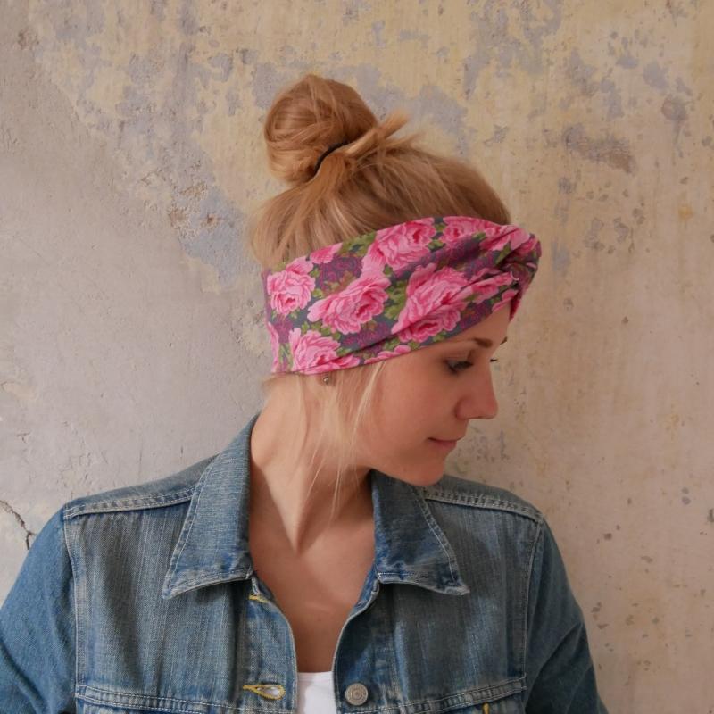 Kleinesbild - ! SALE ! Haarband im Turbanstyle  ROSE handmade Stirnband mit Rosen von zimtbluete