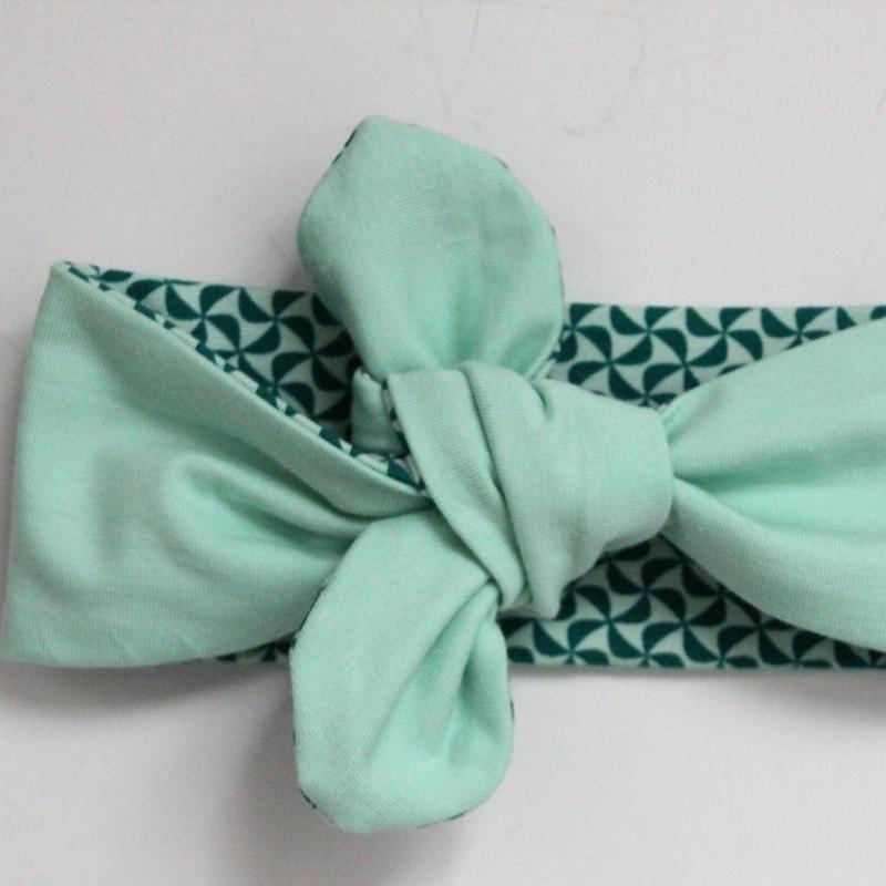 Kleinesbild - KnotenStirnband WINDRAD Haarband  mit Schleife türkis von zimtblüte