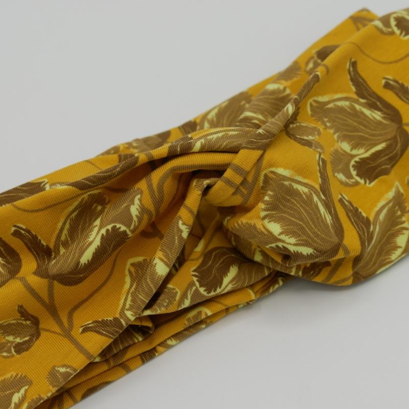 Kleinesbild - TurbanStirnband  GELBE BLUMEN handmade Haarband mit Twist in senfgelb von zimtbluete