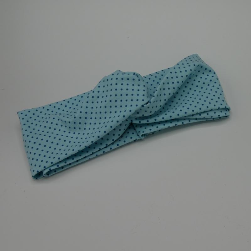 Kleinesbild - TÜRKIS TurbanStirnband handmade Haarband mit Twist mit Punkten von zimtbluete