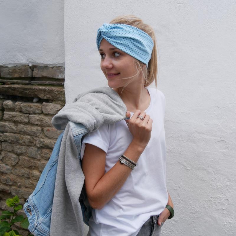 - TÜRKIS TurbanStirnband handmade Haarband mit Twist mit Punkten von zimtbluete     - TÜRKIS TurbanStirnband handmade Haarband mit Twist mit Punkten von zimtbluete