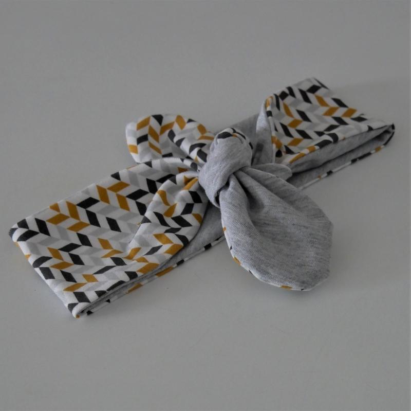 Kleinesbild - RETRO Stirnband Haarband mit Schleife zum Knoten Handmade von zimtblüte
