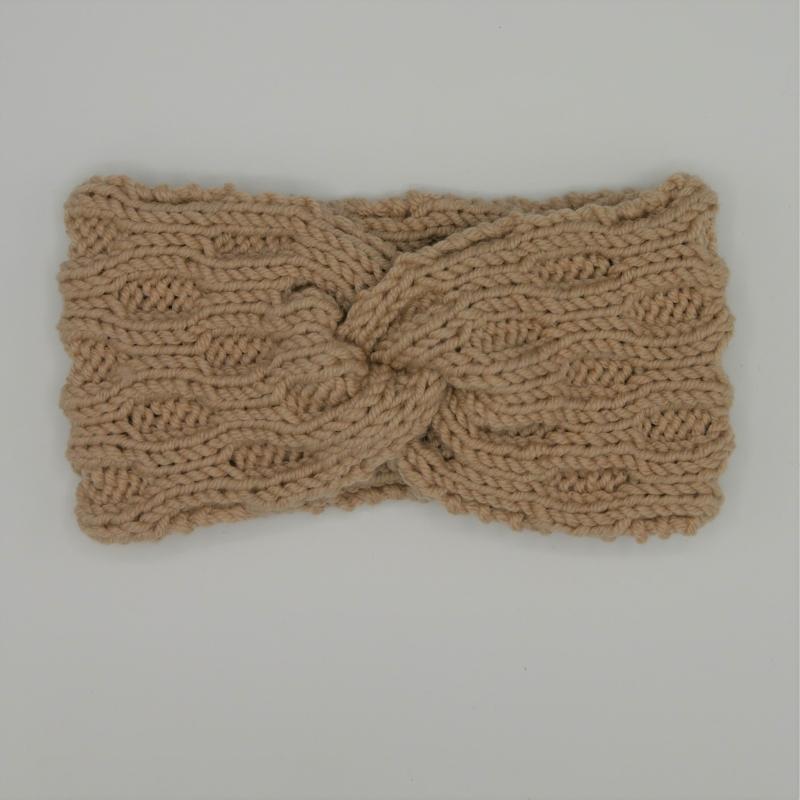 - Stirnband Modell ENNA mit Twist sand von zimtblüte handgestrickt  - Stirnband Modell ENNA mit Twist sand von zimtblüte handgestrickt