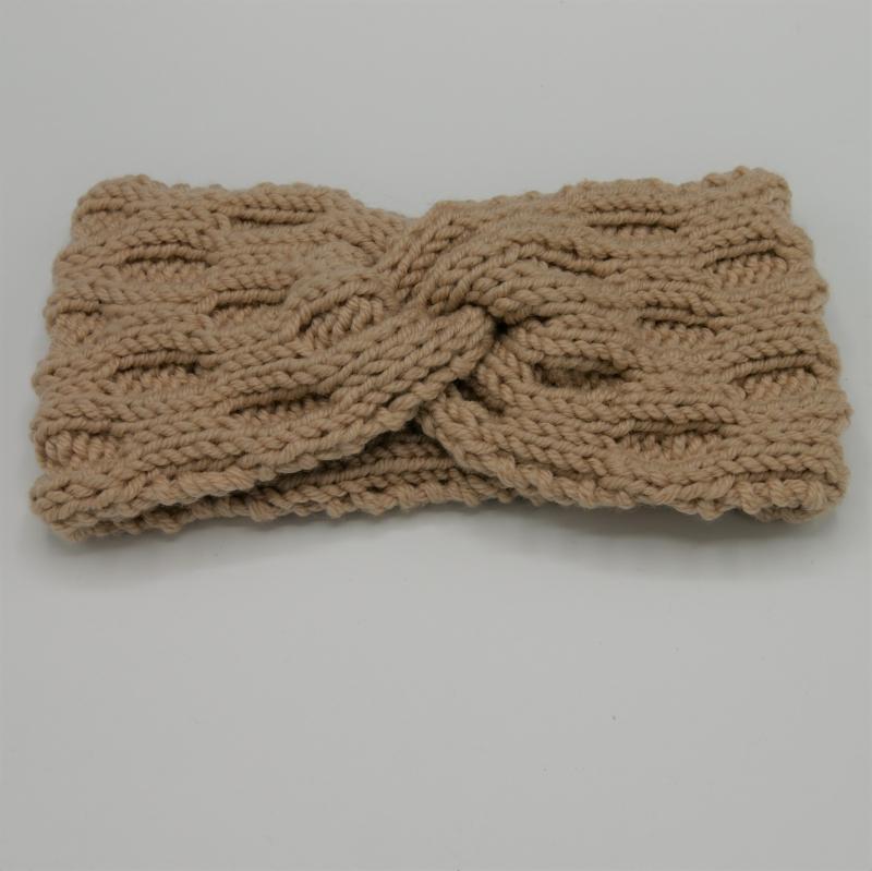 Kleinesbild - Stirnband Modell ENNA mit Twist sand von zimtblüte handgestrickt