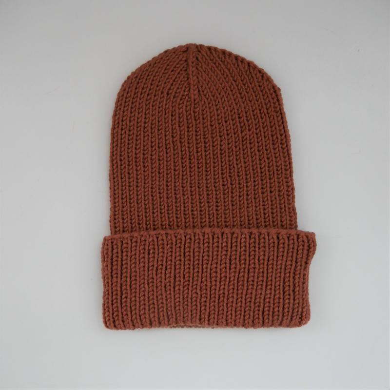 Kleinesbild - BASIC Beanie Zimt handgestrickt  Wollbeanie unisex von zimtblüte
