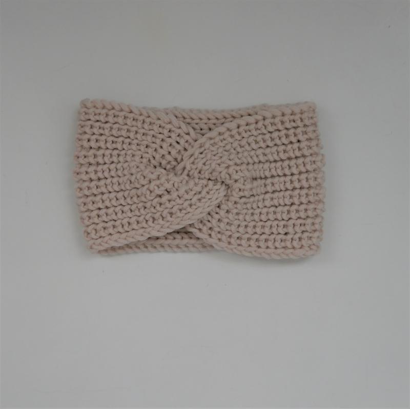 - Wollweiß Stirnband Modell CARO mit Twist von zimtblüte handgestrickt   - Wollweiß Stirnband Modell CARO mit Twist von zimtblüte handgestrickt