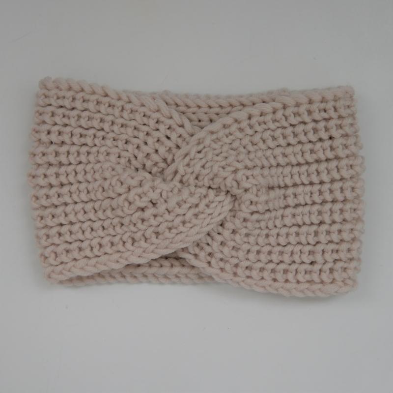 Kleinesbild - Wollweiß Stirnband Modell CARO mit Twist von zimtblüte handgestrickt
