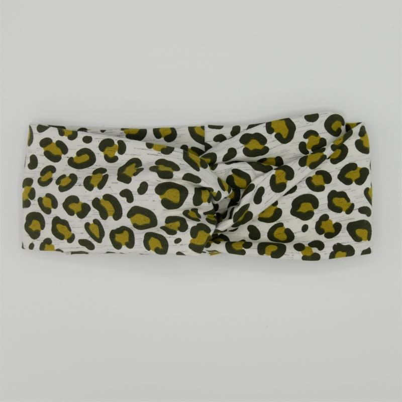 Kleinesbild - Turban Stirnband LEOPRINT  zartes Grau von zimtblüte im Turbanstyle