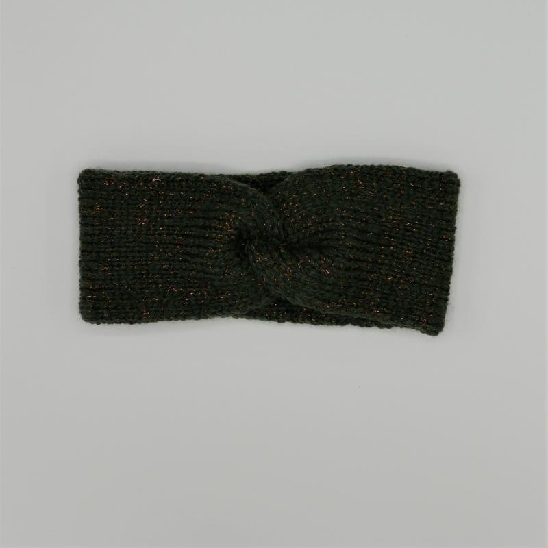 Kleinesbild - RoseGold Stirnband Modell CARO double Wolle mit Glitzer von zimtblüte  handgestrickt  in grün