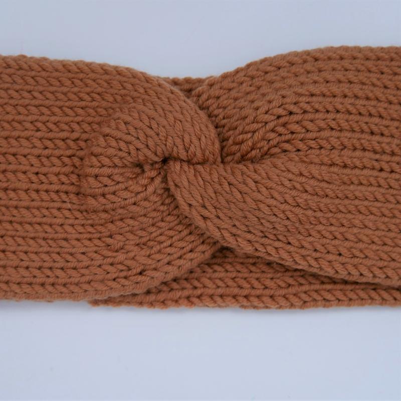 Kleinesbild - Stirnband mit Twist Modell CARO DOUBLE Wolle von zimtblüte  handgestrickt  in karamell
