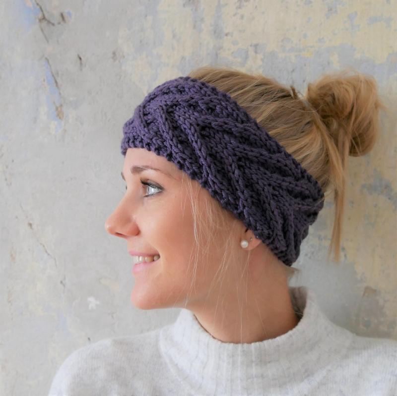 - Stirnband * EFFI * violett von zimtblüte handgestrickt  - Stirnband * EFFI * violett von zimtblüte handgestrickt