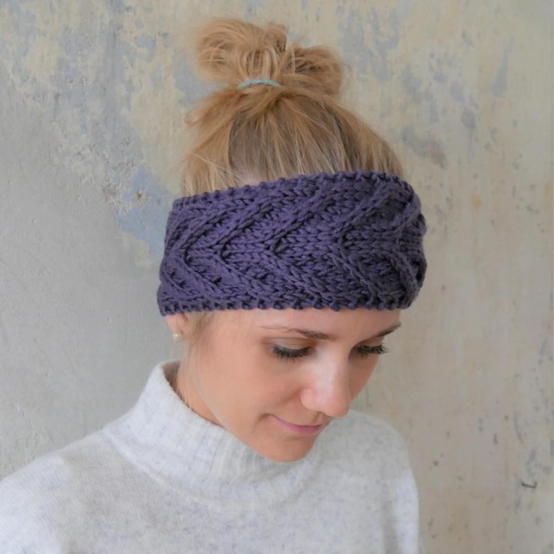 Kleinesbild - Stirnband * EFFI * violett von zimtblüte handgestrickt