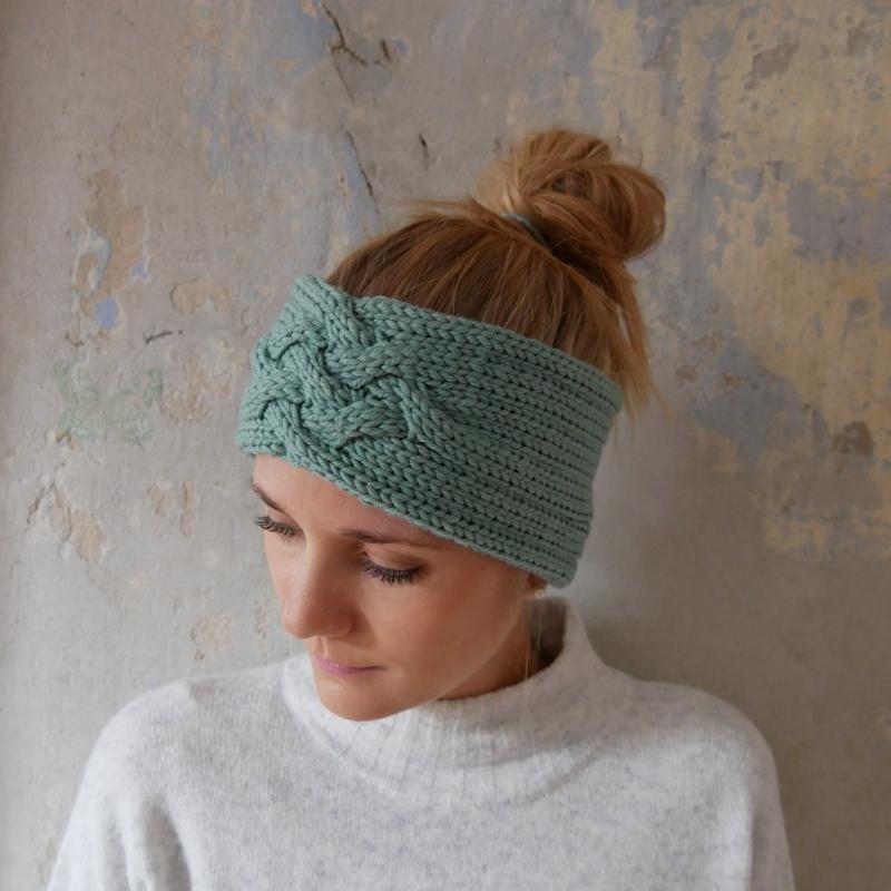 Kleinesbild - Stirnband *ZOE *  MINZE Handarbeit  aus Wolle von zimtblüte