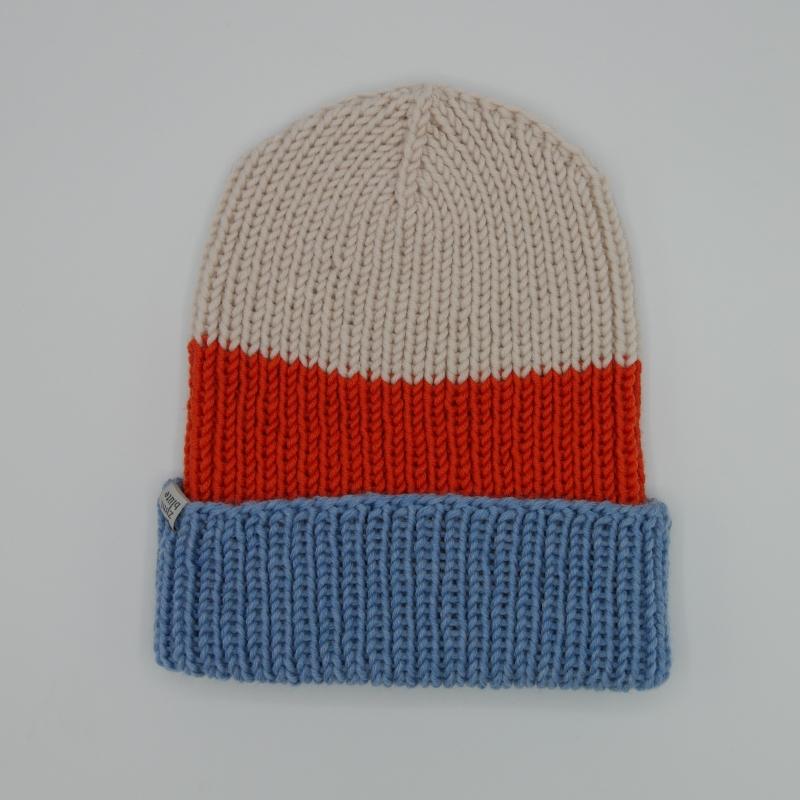 Kleinesbild - 2 teiliges Accessoire-Set Mütze und  Handschuhe fingerlos mit Streifen handgestrickt  von zimtblüte
