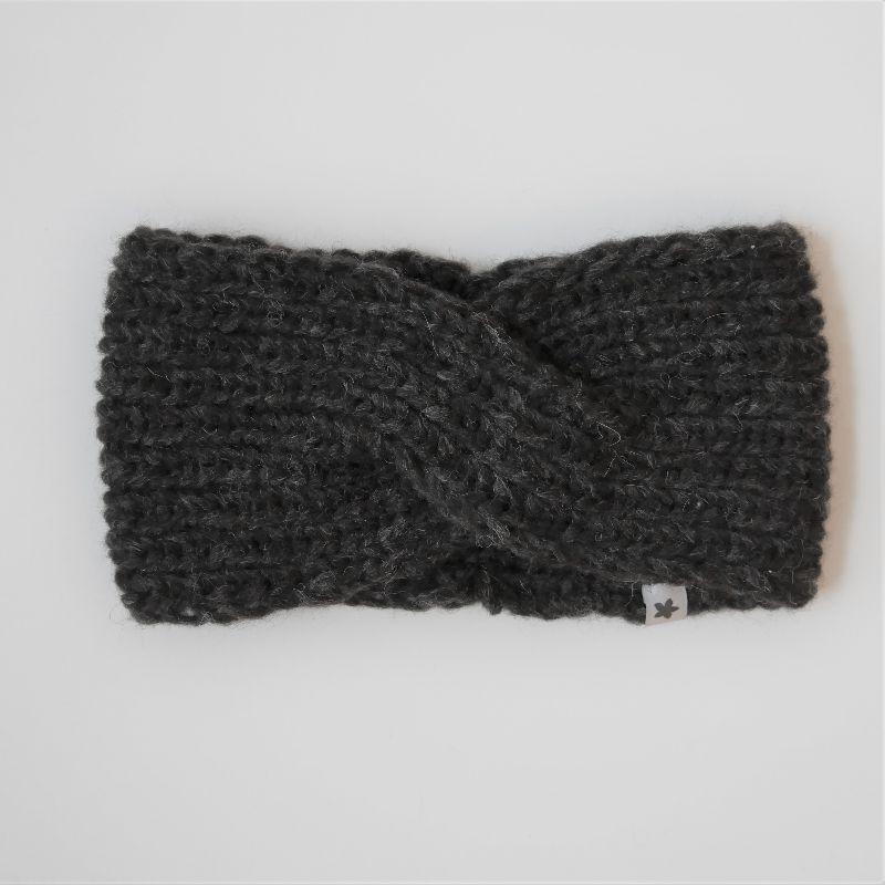 - Stirnband * TWIST *  mit YAK für Frauen anthrazit schwarz handgestrickt von zimtblüte   - Stirnband * TWIST *  mit YAK für Frauen anthrazit schwarz handgestrickt von zimtblüte