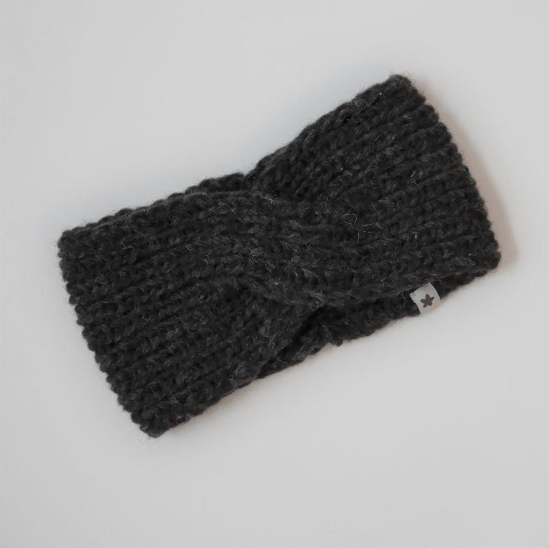 Kleinesbild - Stirnband * TWIST *  mit YAK für Frauen anthrazit schwarz handgestrickt von zimtblüte