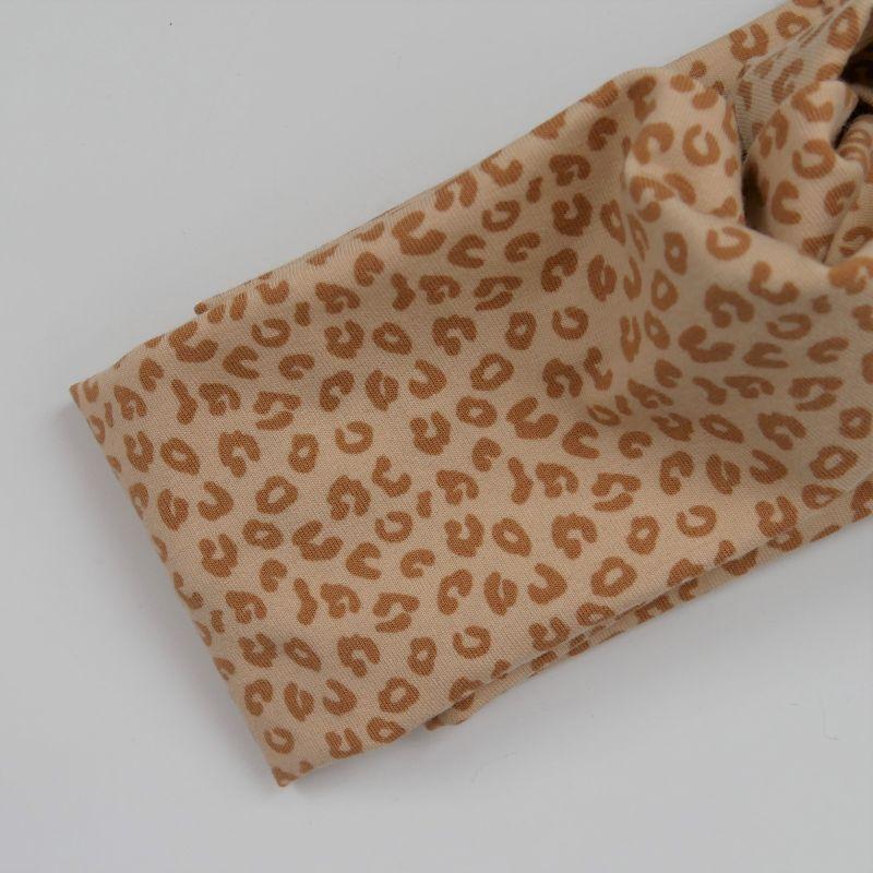 Kleinesbild - Stirnband im trendy Turbanstyle LEO sand Handarbeit von zimtblüte Haarband  BIOBaumwolle