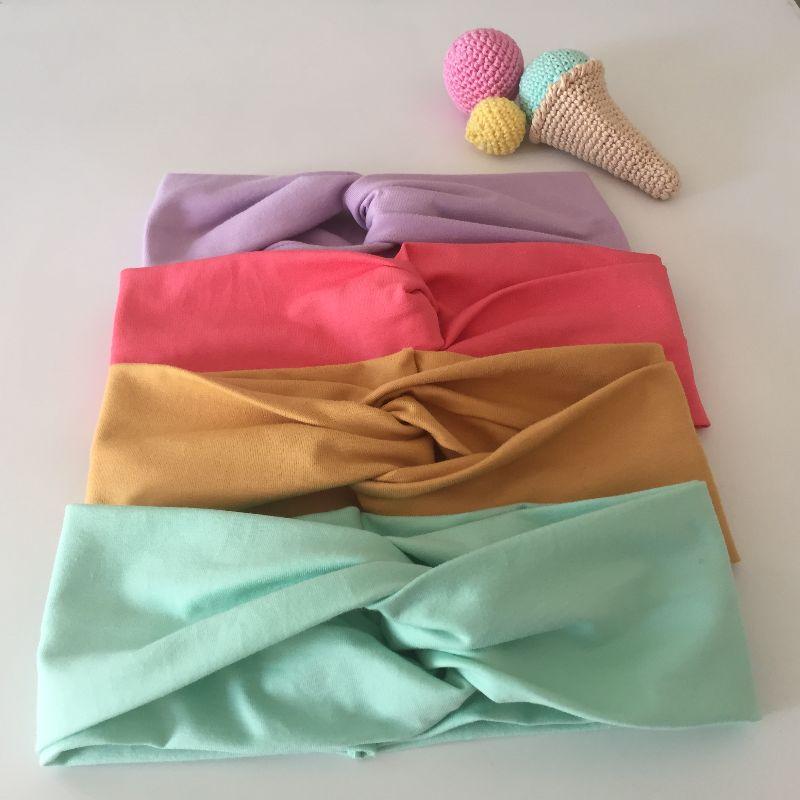 Kleinesbild - Turban Stirnband EINFARBIG pastellgrün von zimtblüte Handarbeit