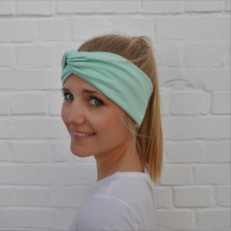 - Turban Stirnband EINFARBIG pastellgrün von zimtblüte Handarbeit - Turban Stirnband EINFARBIG pastellgrün von zimtblüte Handarbeit