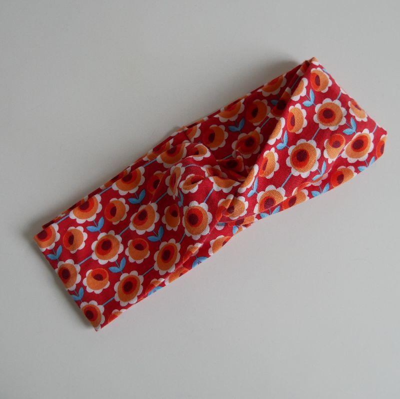 - Stirnband mit Twist orange BLUMEN von zimtblüte im Turbanstyle handmade  - Stirnband mit Twist orange BLUMEN von zimtblüte im Turbanstyle handmade
