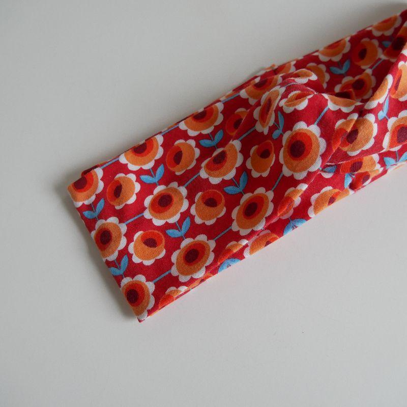 Kleinesbild - Stirnband mit Twist orange BLUMEN von zimtblüte im Turbanstyle handmade