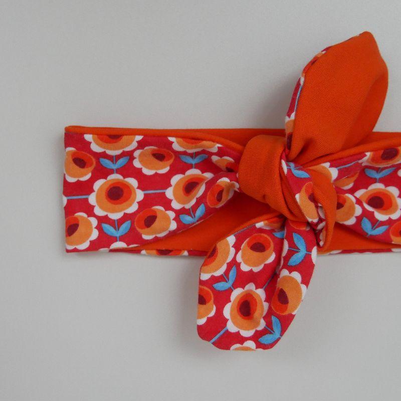 Kleinesbild - Stirnband Haarband mit BLUMEN Schleife zum Knoten Handmade von zimtblüte