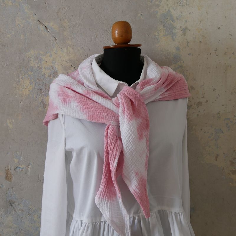 Kleinesbild - BOHO  Dreieckstuch im Batikstyle rosa weiß aus Musselin von zimtblüte NEU!