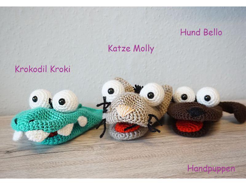 Kleinesbild - 3x Häkelanleitungen für Handpuppen (Krokodil Kroki, Katze Molly & Hund Bello)