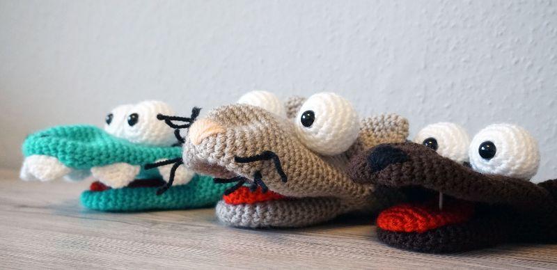 - 3x Häkelanleitungen für Handpuppen (Krokodil Kroki, Katze Molly & Hund Bello) - 3x Häkelanleitungen für Handpuppen (Krokodil Kroki, Katze Molly & Hund Bello)