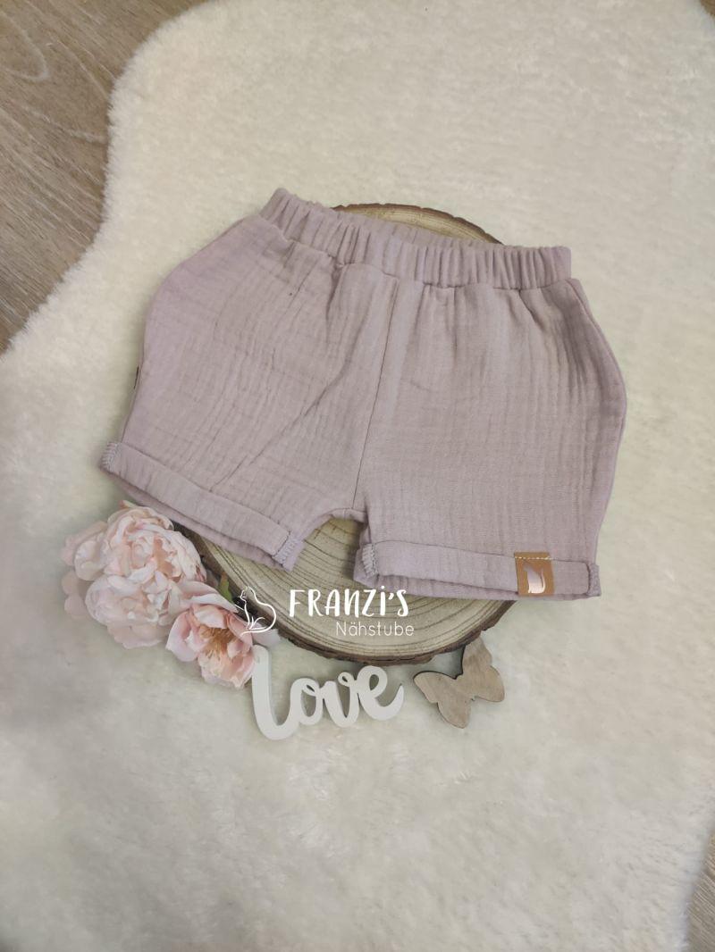 - kurze Kinderhose aus Rosa Musselin Stoff in Größe 74-80 zu verkaufen - kurze Kinderhose aus Rosa Musselin Stoff in Größe 74-80 zu verkaufen