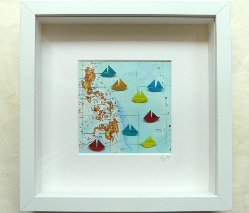 - 3D-Wallart Origami kleine Boote auf Landkarte Philippinen - 3D-Wallart Origami kleine Boote auf Landkarte Philippinen