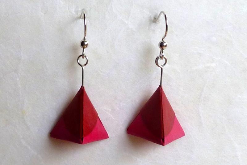 - Ohrhänger Origami Mini-Pyramide pink hell und dunkel - Ohrhänger Origami Mini-Pyramide pink hell und dunkel