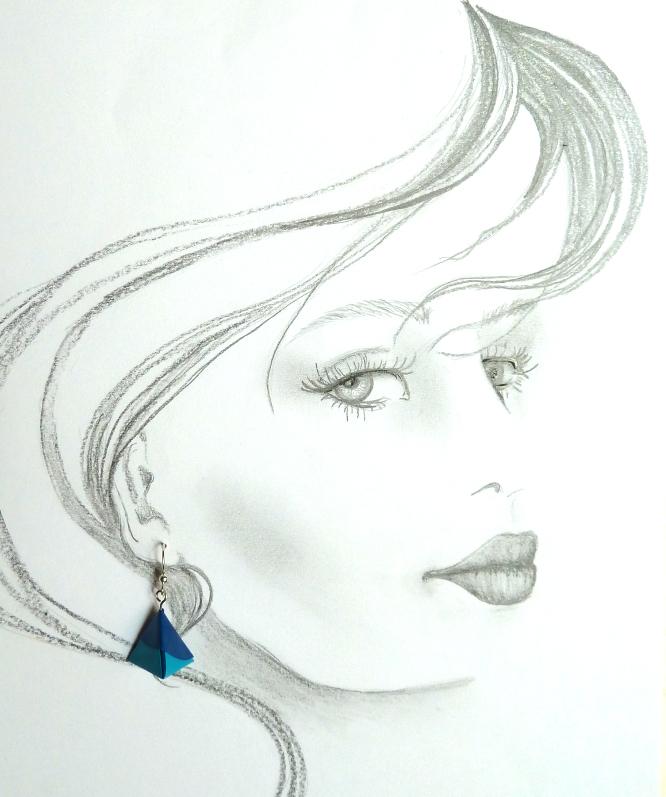 Kleinesbild - OhrhängerOrigami Pyramide blau
