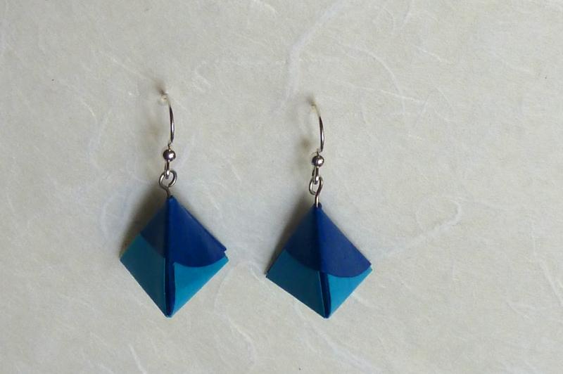 - OhrhängerOrigami Pyramide blau  - OhrhängerOrigami Pyramide blau