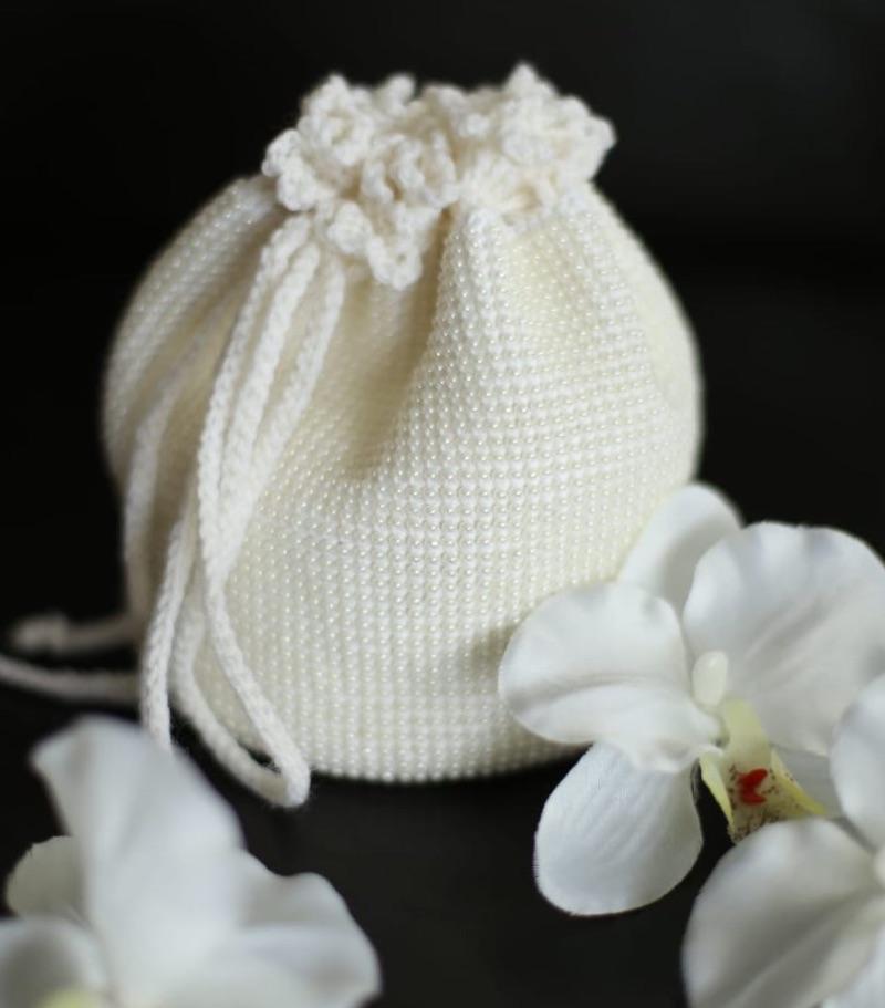 - Handtasche, ♡ Braut, ♡ Hochzeit, Kommunion, Perlen gehäkelt, champanger,  - Handtasche, ♡ Braut, ♡ Hochzeit, Kommunion, Perlen gehäkelt, champanger,