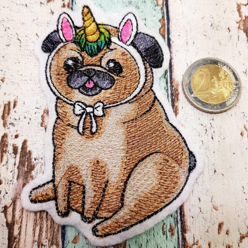 Kleinesbild - Aufnäher I Wish I Were a Unicorn gestickt Mops Dog Hund